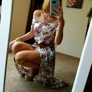 Pants - Floral Off Shoulder Shorts Dress Romper Cape S M